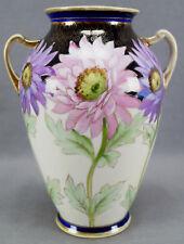 Nippon Morimura Hand Painted Pink Purple Chryanthemums Black Cobalt & Gilt Vase