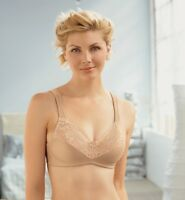 NEW LACY Bra msrp $39 Satin & Lace ~WIDE-STRAPS~ Support 10% Spandex NUDE BEIGE