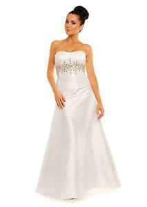 Wedding Evening Prom Dress White Ivory UK Size 6-14,EU34-42,US4-12 UK STOCK
