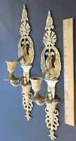 PAIR ARCHITECTURAL SALVAGE EEL MOTIF BRASS SCONCES ~ Made In Italy ~ 16 1/2""