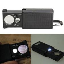 30x 60x Multi Purpose LED Light Jeweller Pocket Pullout Loupe Magnifier Glass #L