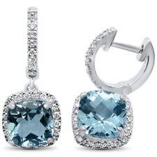 8667aa262335 3.31cts F si 10k Cojín De Oro Blanco Aguamarina Y Diamante Pendientes