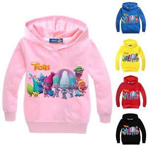 Boy Girl Trolls Hooded Hoodie Long Sleeve Cartoon Pullover Sweatshirt Jumper Top