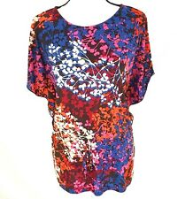 Allison Brittney Womens Top Small Abstract Print Batwing Pullover Tunic Blouse