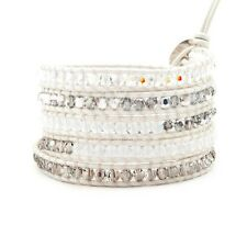 $240 NWT Chan Luu Pearl Crystal Mix Wrap Bracelet on Pearl Leather