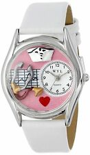 Whimsical Watches Nurse Doctor White Leather Strap Silver-Tone S0610030 Unisex