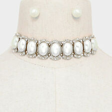 "11.50"" silver crystal oval 1"" pearl collar choker bib Necklace .35"" Earrings"