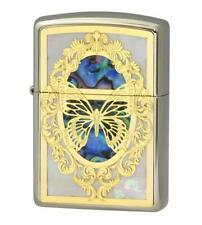 Zippo Oil Lighter Gold Brass Shell Stuck Armor Base White Nickel Butterfly Japan