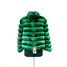 ELEGANT CHIC COAT EMERALD GREEN REAL CHINCHILLA FUR JACKET Luxor Leathers & Furs