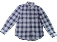 Wallin & Bros Mens Shirt Navy Blue US Size Large L Plaid Button Down $50 #366