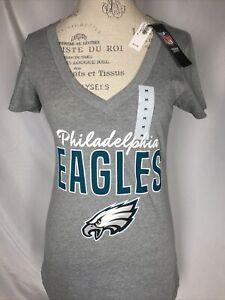 Philadelphia Eagles NFL Grey V-Neck Logo Tee Women's T-Shirt MEDIUM NWT