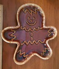 """VINTAGE HULL BROWN DRIP Gingerbread Cookie Man Plate Platter 10"""" X 10"""""""