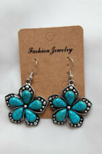Antique Silver Coloured Flower Drop Earrings Turquoise Magnesite Stone Centre.
