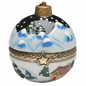 Christmas Decoration - Porcelain Surprise Ornaments Box - Winter Night