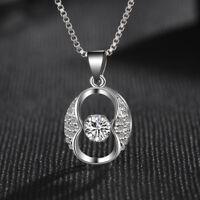 Women's Solid 925 Sterling Silver Hyun Dance Swinging Zircon Pendant Necklace