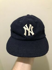 Vintage 70s New York Yankees Annco Wool Fitted Stretch Hat Cap Size Medium MLB