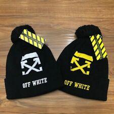 NWT Unisex Off White Beanie Cap Cotton Adult Hat Black