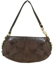 Coach Womens Small Brown Leather Canvas Logo Mini Hobo Handbag Kidney Bean Bag