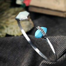 Bracciale Argento Art Deco Irregolare Aperto Turchese Blu Sottile Originale CT5
