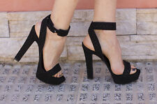 ZARA BLACK HIGH HEEL PLATFORM SANDALS EUR 38/USA 7.5/UK 5 - NEW