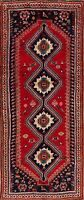 Excellent Geometric Tribal Abadeh Red Runner Rug South-western Hand-Knotted 4x9