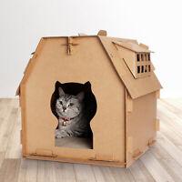 UK NEW Pet Cat Fashion Corrugated Paper House DIY Villa Room Scratch Board Toy
