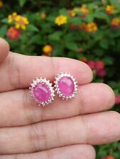 Natural 6x8 Pinkish Red RUBY & White CZ Sterling 925 Silver EARRINGS Rose Gold