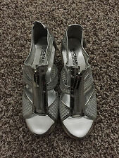 Michael Kors Women's Sandals Wedge Espadrilles Heels Silver with Zipper Size 5