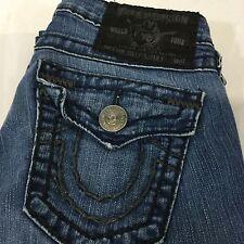 True Religion Jeans Blue Denim Low Rise Straight Cut SZ 24 Flip Pockets Woman