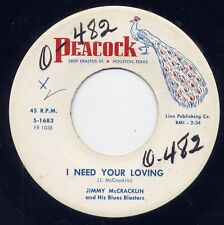 """JIMMY McCRACKLIN - """"I NEED YOUR LOVING"""" b/w """"THE SWINGING THING"""" on PEACOCK  M-"""