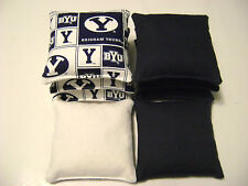 BRIGHAM YOUNG BYU CORNHOLE BEAN BAGS TAILGATE TOSS GAME SET OF 8 COUGARS