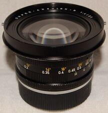 21mm SUPER ANGULON R F/4  Lens, 3-cam, Leitz Wetzlar  +  hood  +  caps  LEICA