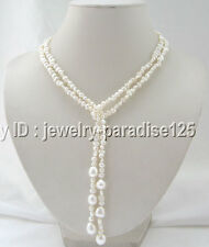 """Beautiful 45 """" 5-6-9-10mm white freshwater pearl necklace"""