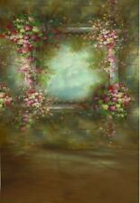 Motif Floral Rose Cadre Marron Vintage Fée Backdrop Vinyl Photo Prop 5X7FT 150X220CM