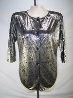 TD Sport Silver Black 3/4 Sleeve Button Front Metallic Top Womens Sz Medium 8 10