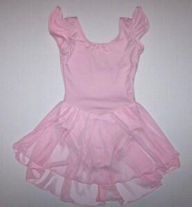 Nwt New Capezio Leotard Leo Dress Attached Skirt Cap Flutter Sleeve Pink Girl