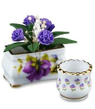 Dollhouse Purple Flowers in Pansy Planter W Flower Pot 1.431/5 Reutter Miniature