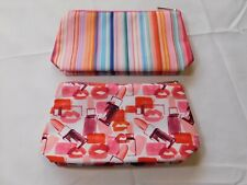 Clinique travel cosmetic bag Lot of 2 bags 1 striped 1 lipstick zip closure
