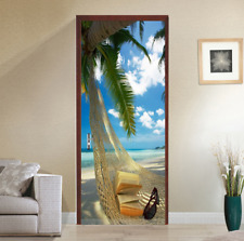 3D Self Adhesive Relaxed Beach Bedroom Door Mural Stickers Wall Photo Home Decor