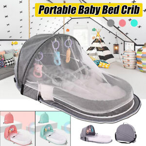 Portable Baby Bed Foldable Newborn Bassinet Crib  Net Bag Infant Cot Travel Tent