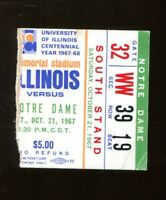 1967 Notre Dame v Illinois Football Ticket 10/21 Memorial Stadium 43358