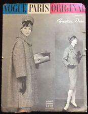 VINTAGE anni'50 VOGUE PARIS ORIGINALE 1472 DIOR Tuta & Cappotto Sewing Pattern B32