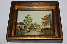 Antique Miniature Oil Painting On Board-Country Village Huts-Country Decor-LQQK