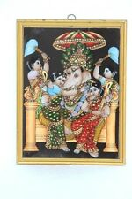 New Tanjor Glass Painting Ganesha Ridhi Sidhi Home Decor Collectible J-81