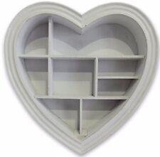 Grey Heart Shape Wooden Decorative Wall Storage Display Shelf Unit  40 x 40 cm