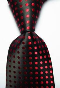 New Classic Polka Dot Black Red JACQUARD WOVEN Silk Men's Tie Necktie