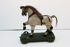 Antique Toy Horse on Wheels Painted Wood