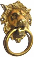 Golden Lion Old Vintage Antique Style Handcrafted Solid Brass Door Knocker Knob