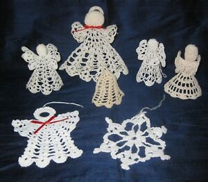 Lot of 7 Vintage Christmas Hand Crocheted White Angel Bell Snowflake Ornaments