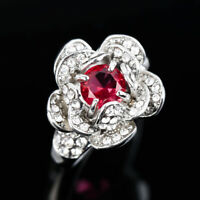 Fashion Ruby Rose Flower 925 Silver Jewelry Wedding Rings for Women Ring Sz 6-10